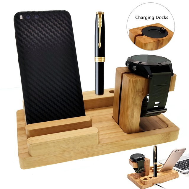 Fenix 6 Bamboo Wood Fenix Charger Charing Dock Holder for Garmin Fenix 5/5X/5S/Desk Station Organizer with Charing Cable