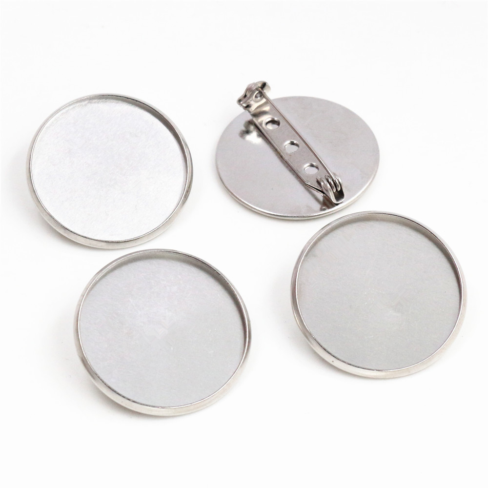 ( No Fade ) 10pcs 25mm Inner Size Stainless Steel Material Brooch Style Cabochon Base Cameo Setting Charms Pendant Tray (D1-45)