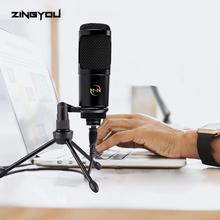 100% Original ZINGYOU USB Microphone For Computer Gaming Chatting Mic With Stand Tripod Metal Condenser Microphone 009