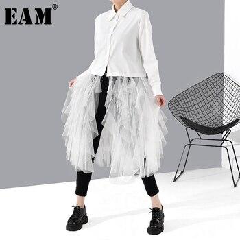 [EAM] Women White Mesh Ruffles Split Temperament Blouse New Lapel Long Sleeve Loose Fit Shirt Fashion Spring Autumn 2020 1S54000