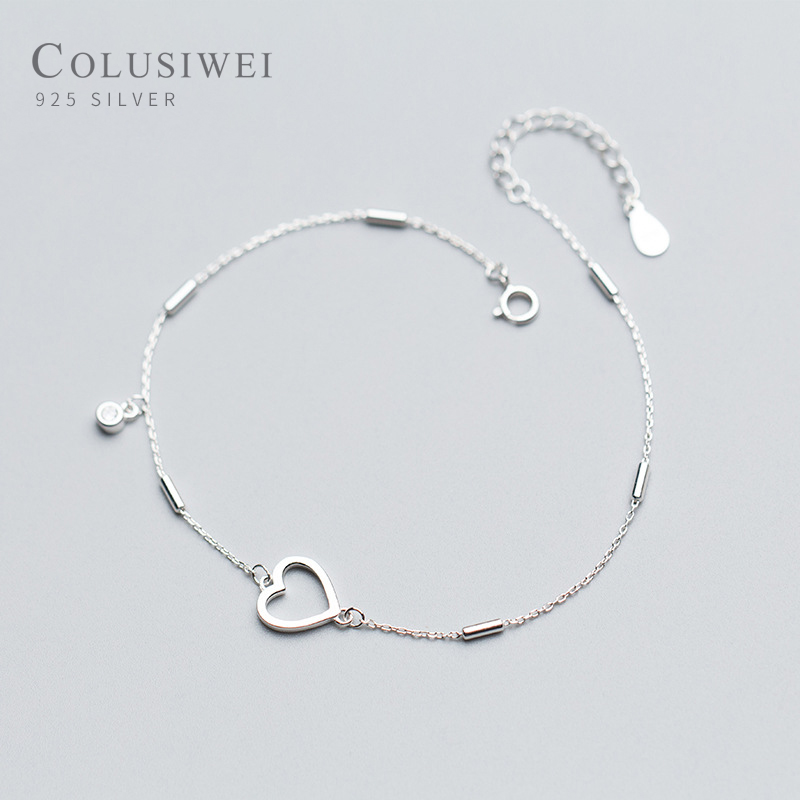 Colusiwei Simple Design Heart Silver Anklet for Women Sterling Silver 925 Bracelet for Ankle and Leg Fashion Foot Jewelry