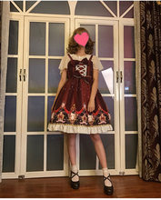 Victorian strap red dress lolita vintage falbala bowknot cute printing high waist princess kawaii girl gothic lolita cos loli(China)