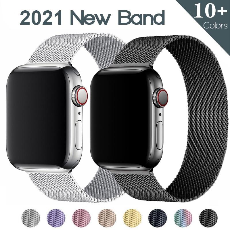 Laço milanês para apple watch band 44mm 40mm 38mm 42mm aço inoxidável cinto de metal correa pulseira iwatch série 5 4 3 se 6 cinta