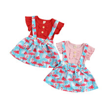 Outfits Toddler Girls Summer Solid 2pcs Dress Romper Suspenders Short-Sleeves Flamingo-Print