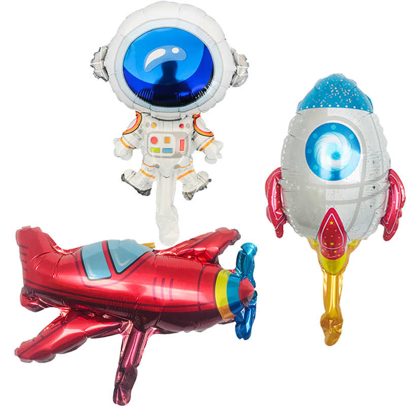 Nuevo 1 PSC/Mini espacio astronauta cohete globo niño cumpleaños espaciador nave espacial tema Fiesta decoración aluminio globo
