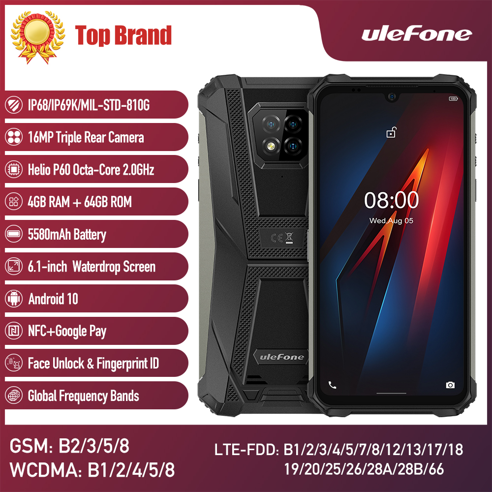Ulefone Armor 8 Android 10 Mobile Phone Waterproof Smartphone 5G WiFi Octa core 6.1 inches 4GB 64GB 5580mAh Fast Charge phone