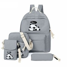 4pcs/Set Canvas Women Backpack Girls Cute Panda Print Student School Backpack Shoulder Teenagers Book Bagpack Mochila Feminina(China)