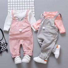 Baby Girls Clothes Sets Spring Fashion Long Sleeve T-shirt Pants Sets Girls Sports Suit Toddler Girl Clothes Children Overalls цена 2017