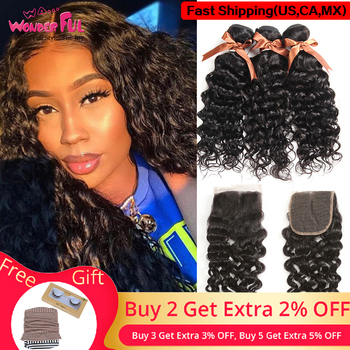 Wa...Wonderful Brazilian Hair Weave Bundles With Closure Remy Human Hair 3 Bundles With Closure Water Wave Bundles With Closure