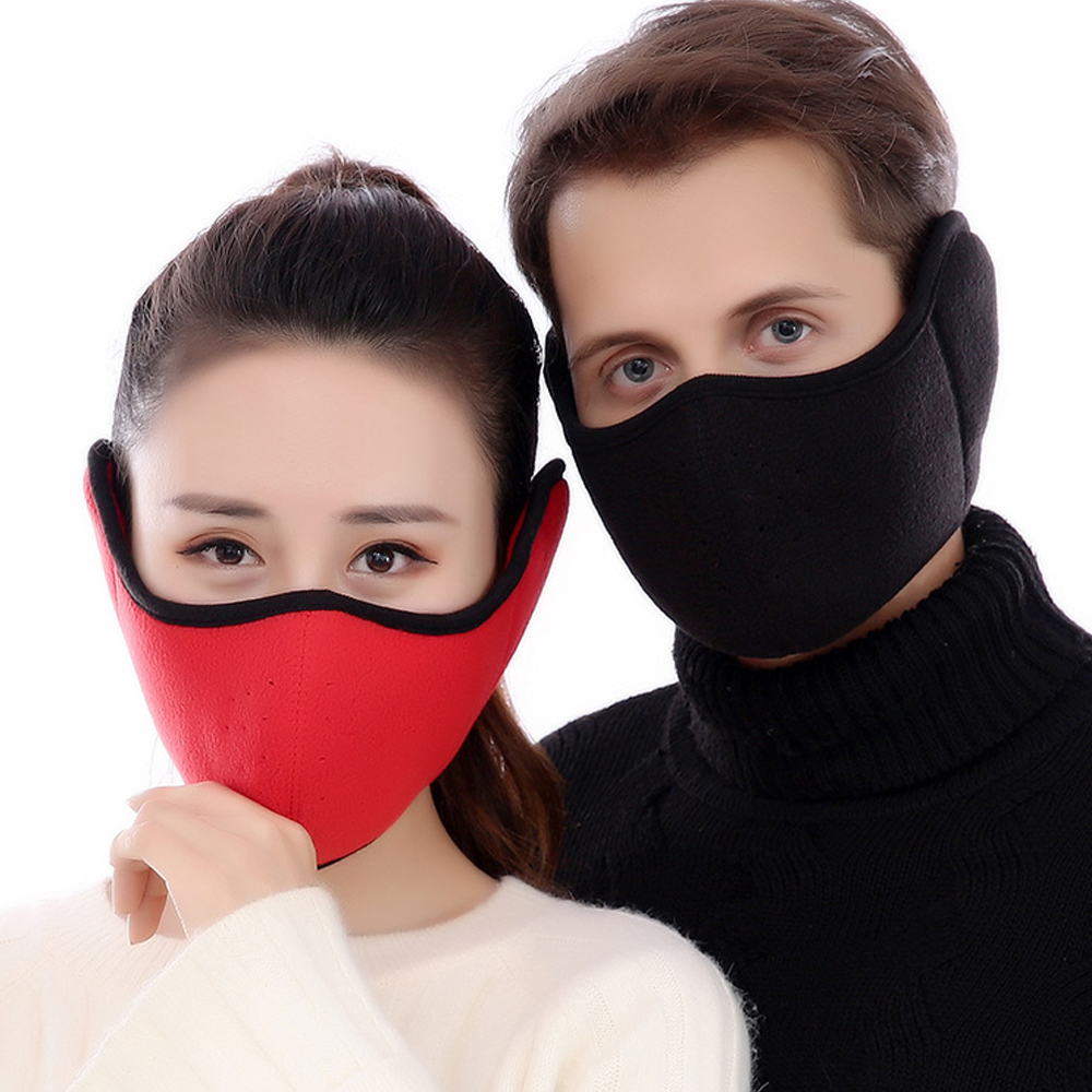 2 In 1 Unisex Mouth Muffle Cotton Earmuffs Masks Winter Fashion Men Women Outdoor Warm Windproof Half Mask