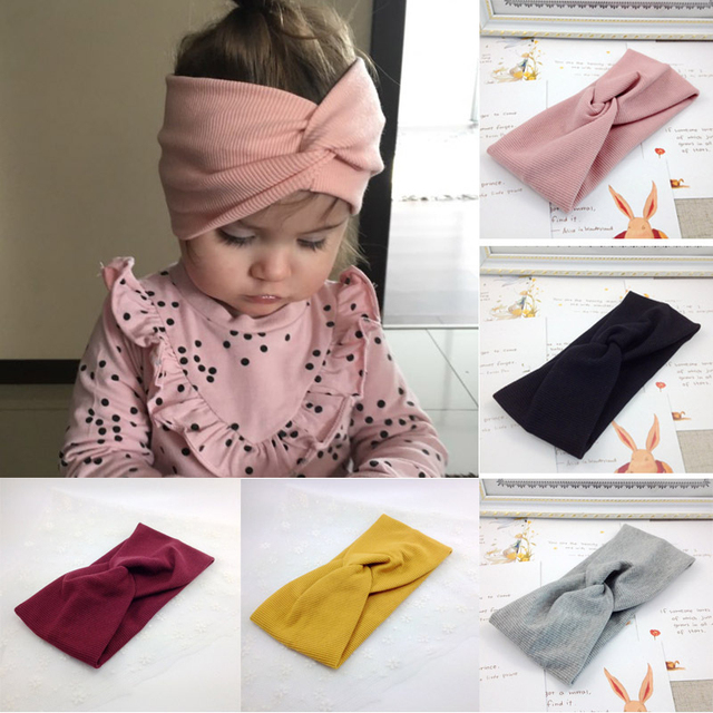 1 PCS Spring Summer Solid Color Baby Headband Girls Twisted Knotted Soft Elastic Baby Girl Headbands Hair Accessories 1