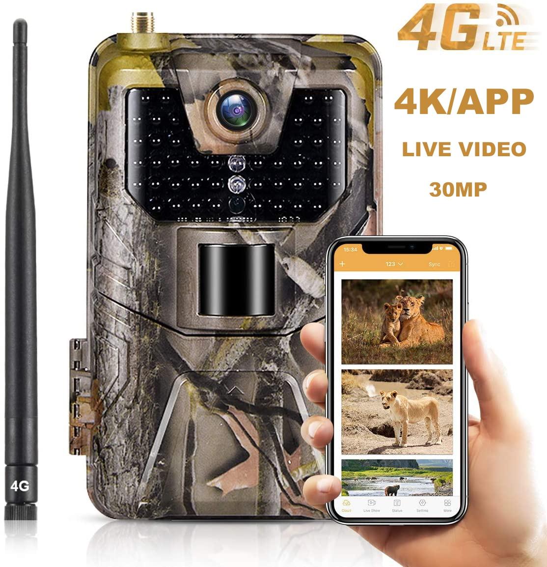 4K видео в режиме реального времени приложение Trail Камера облако Услуги 4G 30MP Охота Камера s Сотовая связь мобильный Беспроводной дикой природ...