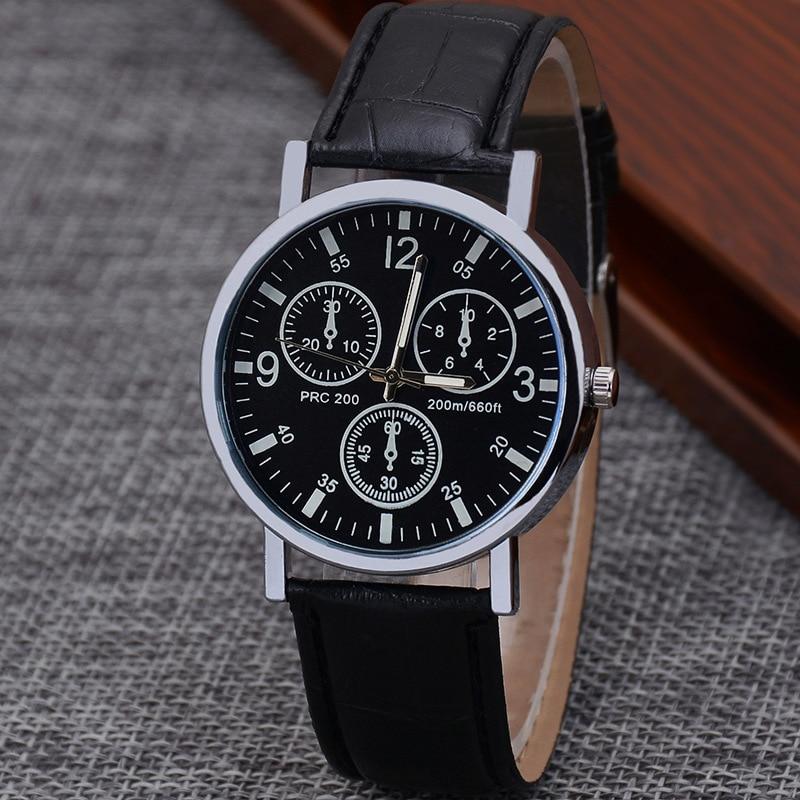 Watch Male Colorful Blue Light Glass Belt Man Wrist Watch