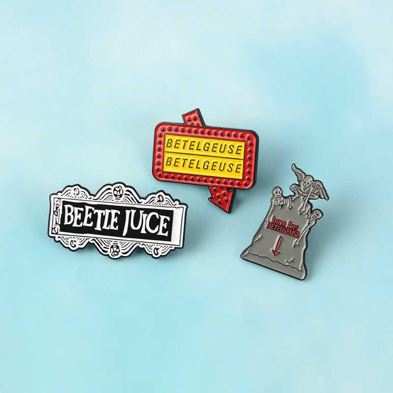 Dello Smalto del fumetto pin Lapide Beetlejuice Distintivi e Simboli Spille per le donne degli uomini Scuro Punk gioielli Film