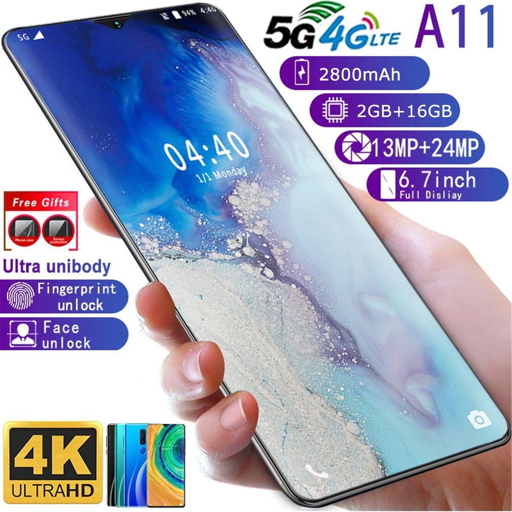 A11 2+16GB 6.7Inch Water Drop Screen Human Face Fingerprint Mobile Phone Smart Phone Bit Battery Camera Smartphone