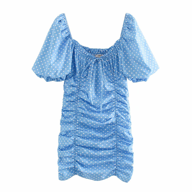 2020 Spring Summer New Polka Dot Pleated Blue Zaraing Women Dress Sheining Vadiming Female Blue Dress Sexy Vintage Xdn9529
