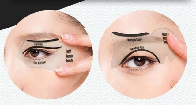 New 200sets/lot 2pcs Pro Eyeliner Stencils Winged Eyeliner Stencil Models Template Shaping Tools Eyebrows  Card Eye Shadow 4