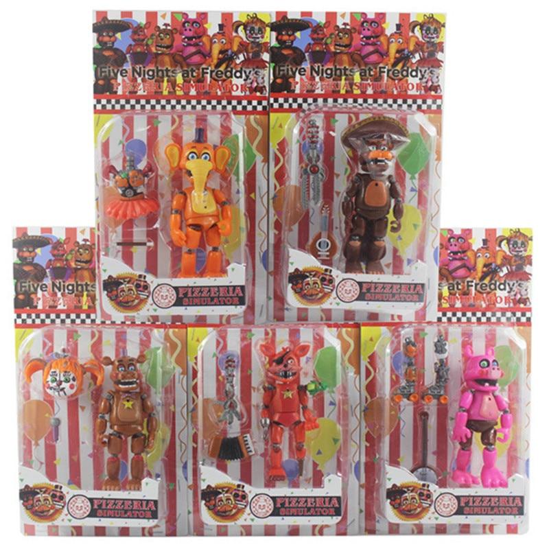 6 шт./компл. FNAF пять ночей, Полуночный игрушечный медведь, игрушки Fazbears, симулятор пиццерии Ver Foxy Chica Lighte, фигурка с подвижными суставами, игруш...