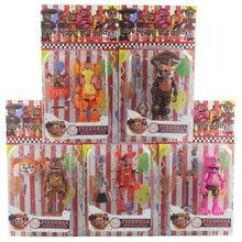 6 Pçs/set FNAF Cinco Noites À Meia Noite Brinquedo Brinquedos Urso Fazbears Pizzaria Simulador Ver Foxy Chica Lighte Articulações Móveis Brinquedos Estatueta