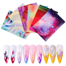 6pcs/Set Holographic Flame Stickers Colorful Candy Nail Mold Hollow Adhesive Magic Color