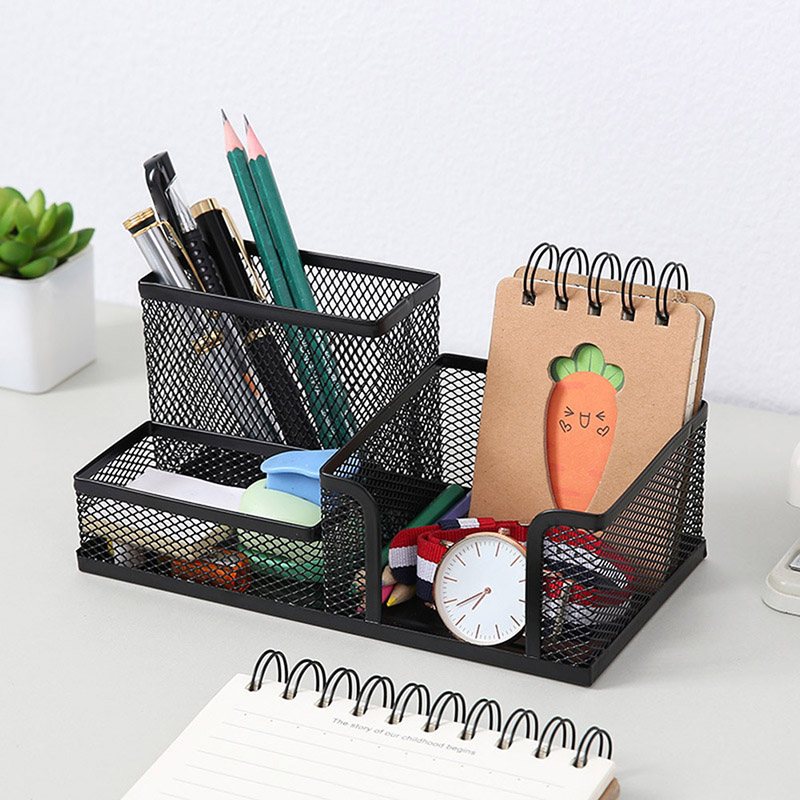 Metal Desktop Pen Holder Multifunctional Stationery Desk Office Storage Box Pencil Table Mesh Storage Box Grid Cube Metal Rack