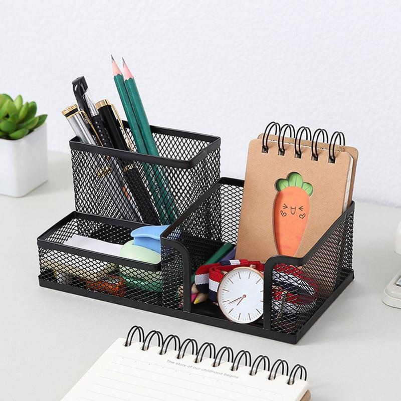 Metal Desktop Pen Holder Multifunctional Stationery Desk Office Storage Box Pencil Table Mesh Storage Box Grid Cube Metal Rack
