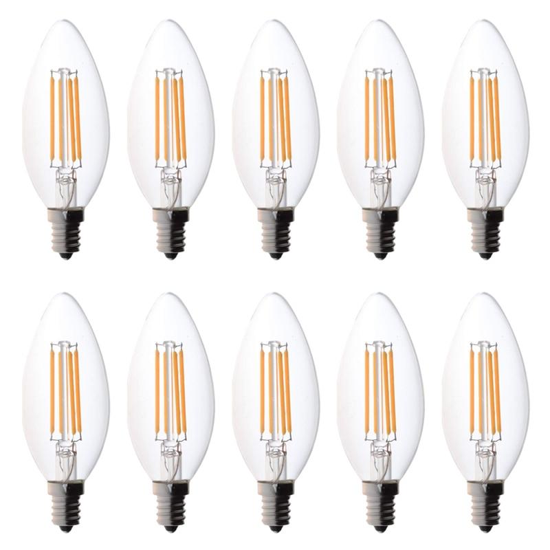 C35 Dimmable Strobeless LED Bulb Candlestick 4W Equivalent 40W Incandescent Lamp E14 Base 2700K Warm White 220V