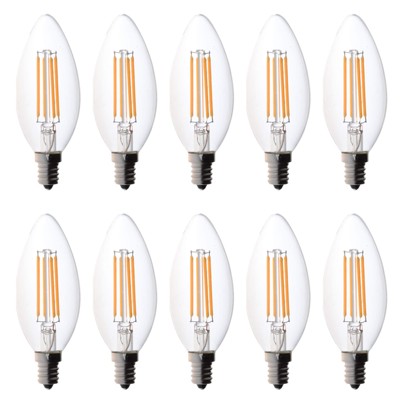C35 Dimmable Strobeless LED Bulb Candlestick 4W Equivalent 40W Incandescent Lamp E14 Base 2700K Warm White 220V