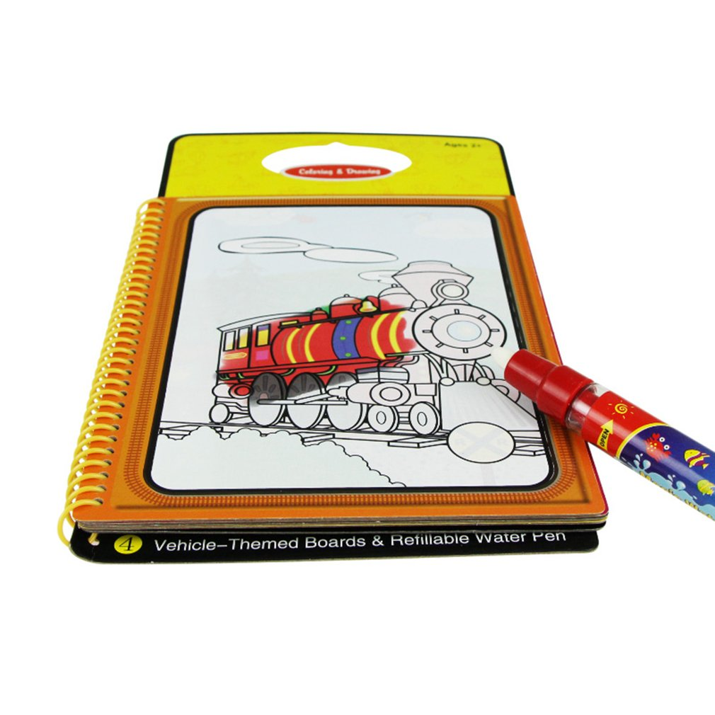 OCDAY Drawing Toys Kid Magic Water Painting Board Children Education Coloring With 1 Pen Cognitive Doodle Books Traffic Animals