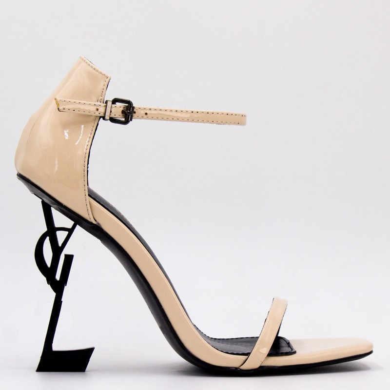 Сандалии женские из натуральной кожи с круглым носком, Классические брендовые босоножки с металлическим логотипом YL, на тонком каблуке 10 см, босоножки на высоком каблуке, Размеры 35-42