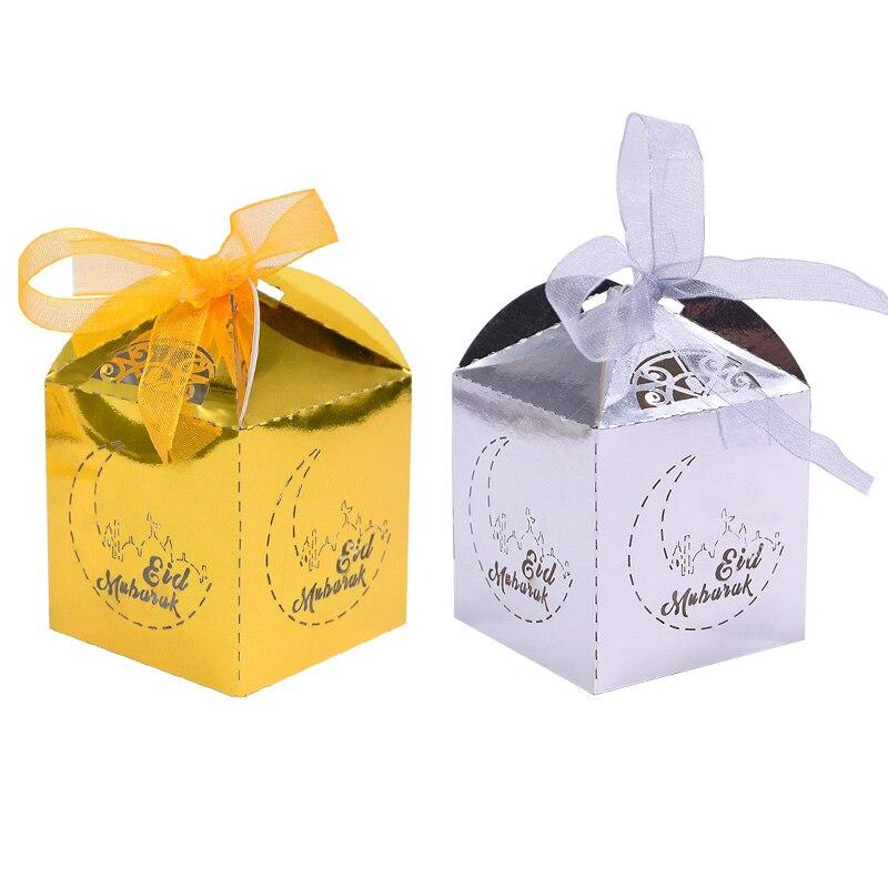 20pcs Gold Eid Mubarak Candy Box Favor Box DIY Paper Gift Boxes Happy Islamic Muslim Al-Fitr Eid Ramadan Decor Party Supplies