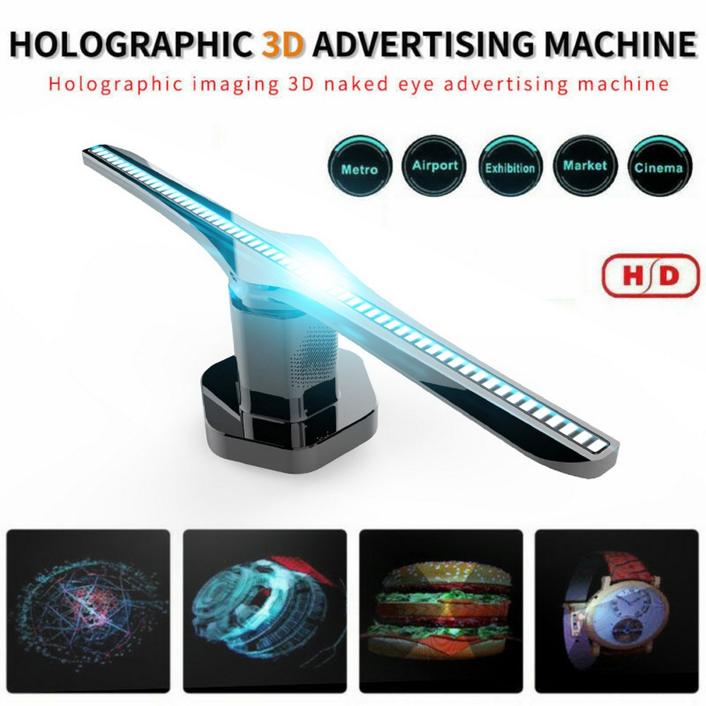 100-240V AC Plug-in 3D Hologram Projector Light Advertising Display LED Fan Holographic Imaging Lamp 3D Remote Hologram Player