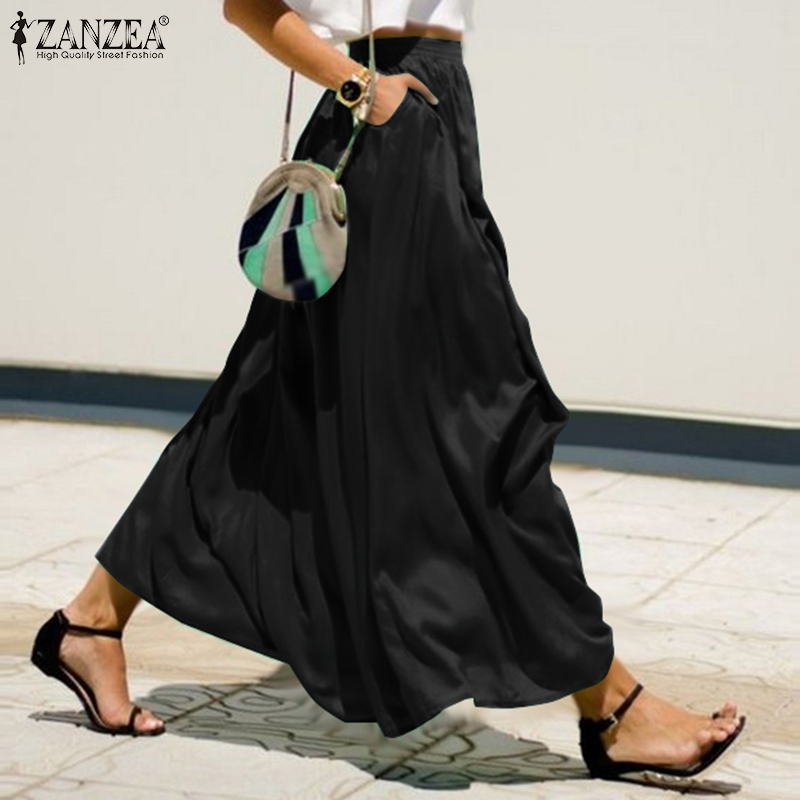 Plain Solid Skirts Women's Long Maxi Vestidos ZANZEA 2020 High Waist Pockets Maxi Skirts Female Solid Robe Plus Size Flades 7