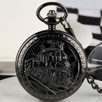 Hollow Running lokomotywa pociąg mechaniczne zegarki klasyczne cyfry rzymskie Relogio mechaniczne ręczne nakręcanie kieszonkowe zegarki prezenty tanie i dobre opinie YISUYA CN (pochodzenie) Mechaniczna Ręka Wiatr Stop ROUND ANALOG fob chain watches Stacjonarne Szkło Unisex Kieszonkowy zegarki kieszonkowe