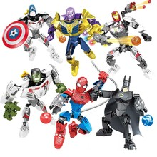 Super hero Spiderman Batman Building Blocks Iron Man Thanos Thor Panther Toy boy Birthday Gift Brinquedo