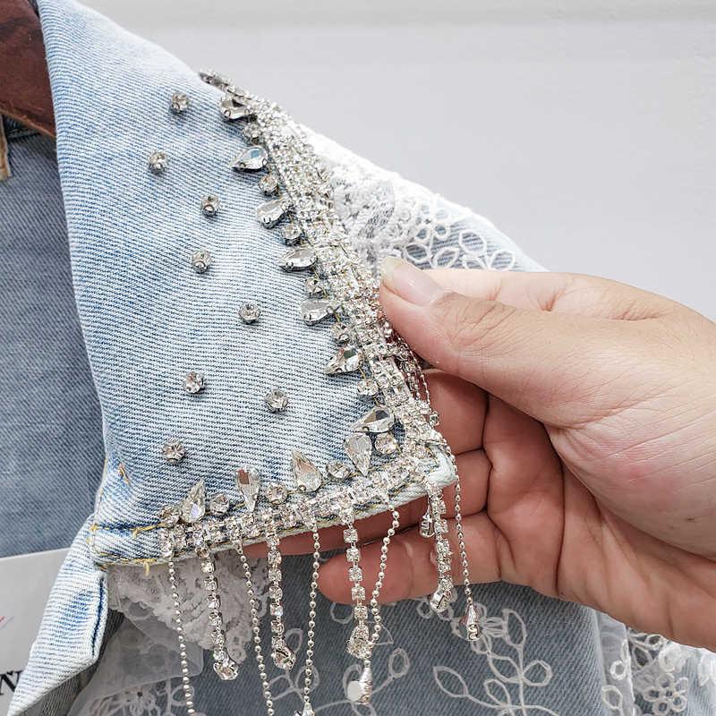 Europese Kant Jeans Jassen Vrouwen 2020 Herfst Nieuwe Industrie Diamant Kwastje Drie-Dimensionale Bloem Losse Jeans Jas Chaqueta