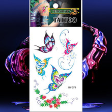 Waterproof Tattoos Colorful Butterfly Temporary Tattoo Flower Sticker Fake Tatto Men Women Flash Tatouage Hand Foot Arm Chest(China)