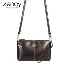 Zency 100% Genuine Leather Retro Women Messenger Purse Day Clutches Fashion Lady Shoulder Crossbody Bags Black Brown Handbag