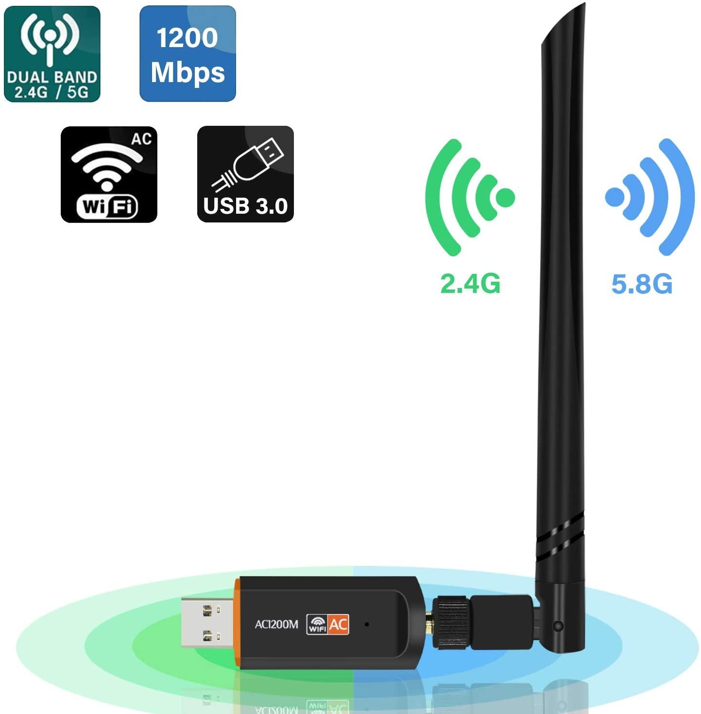 Sans fil USB Wifi adaptateur pilote gratuit 1200Mbps Lan USB Ethernet 2.4G 5G double bande Wi fi carte réseau Wifi Dongle 802.11n/g/a/ac|Cartes réseau| |  -