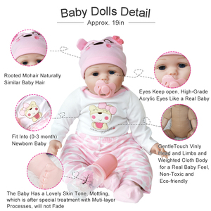 Image 2 - 55cm Realistic Reborn Baby Doll Soft Silicone Stuffed Lifelike Baby Doll Toy Ethnic Doll For Kids Birthday Christmas Gifts