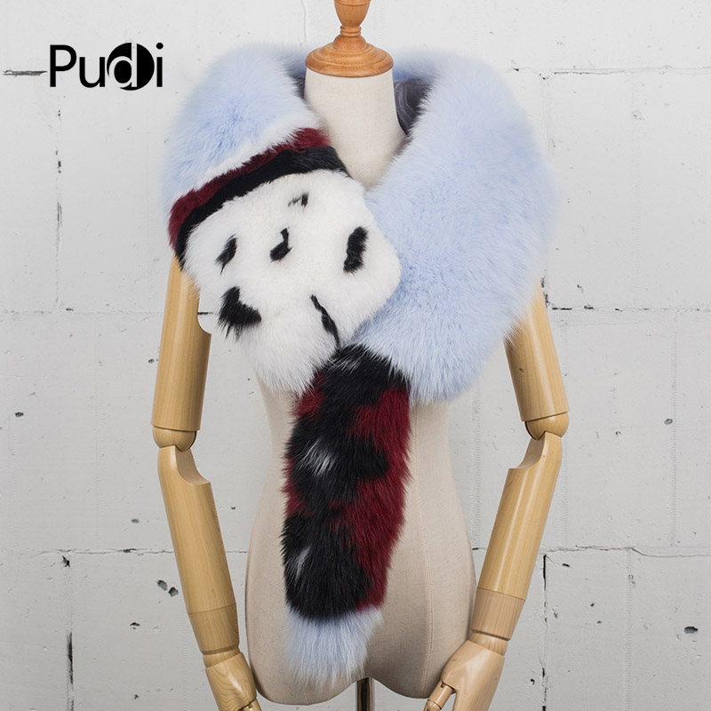Pudi SF777 2020 New Fashion women's genuine fox fur scarf girl's real fox fur with print patten long style fur scarf