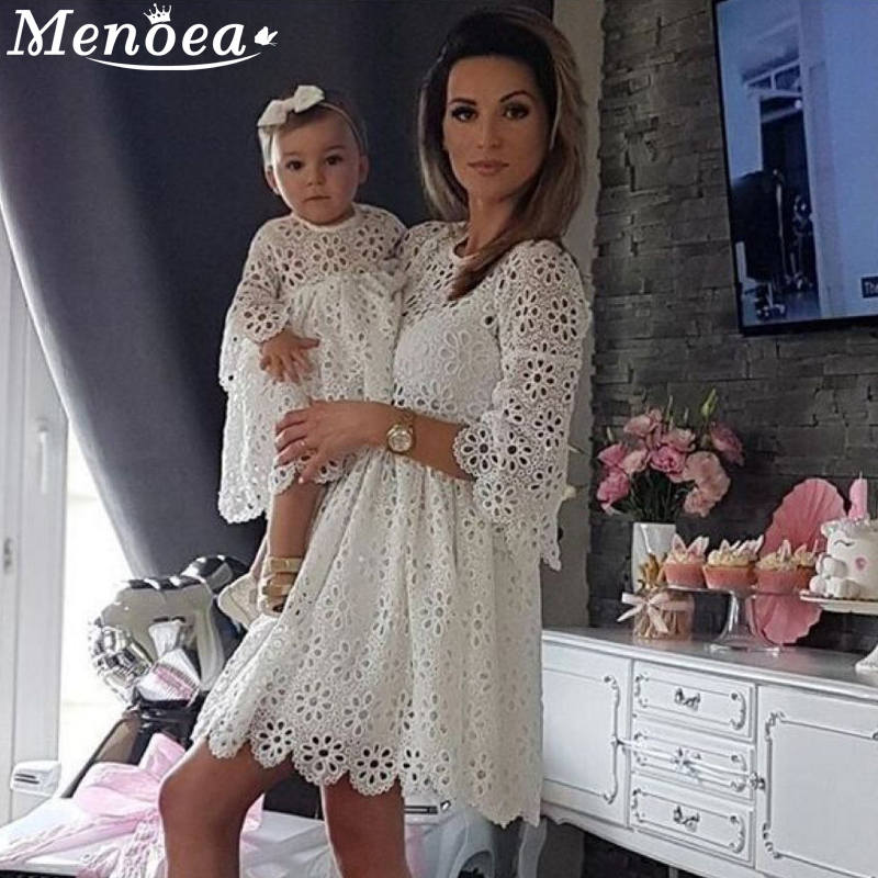 Mother And Daughter Lace Dress 2019 Summer Family Matching Outfits White Cute Dress Lace Dresses Half-Sleeve Clothes Dresses