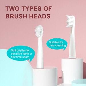 Image 2 - 2020 nuovo spazzolino elettrico ricaricabile USB spazzolino da denti sonico per donna e ragazza con 4 testine morbide