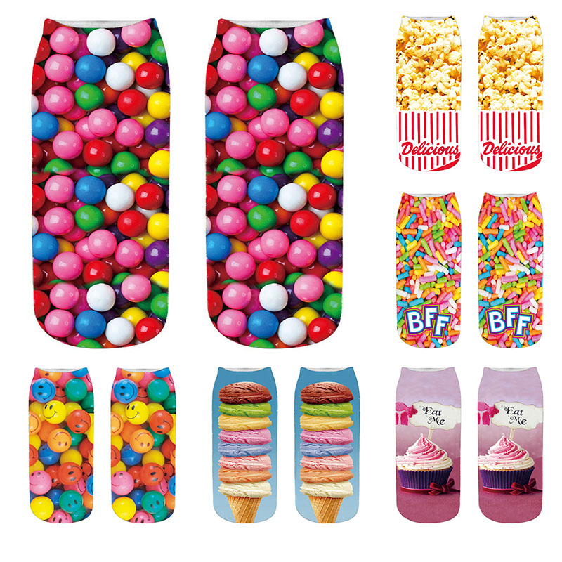 Novelty Style Fashion 3D Chocolate Fruit Ice Cream Burger Printing Short Socks Funny Harajuku Summer Women Happy Low Ankle Socks