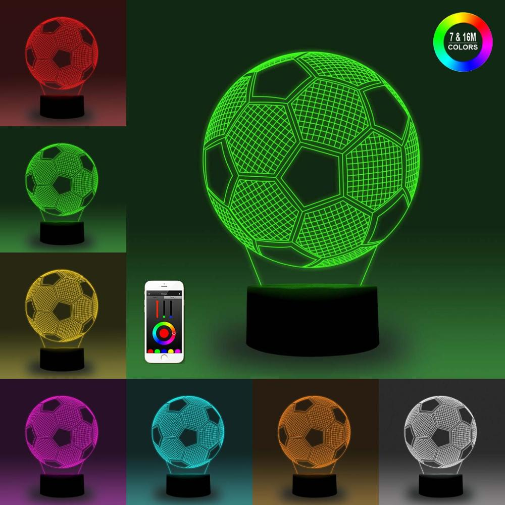 NiteApps 3D UK Football Night Light Desk Table Illusion Decoration Lamp Holiday Birthday Gift APP/Touch Control