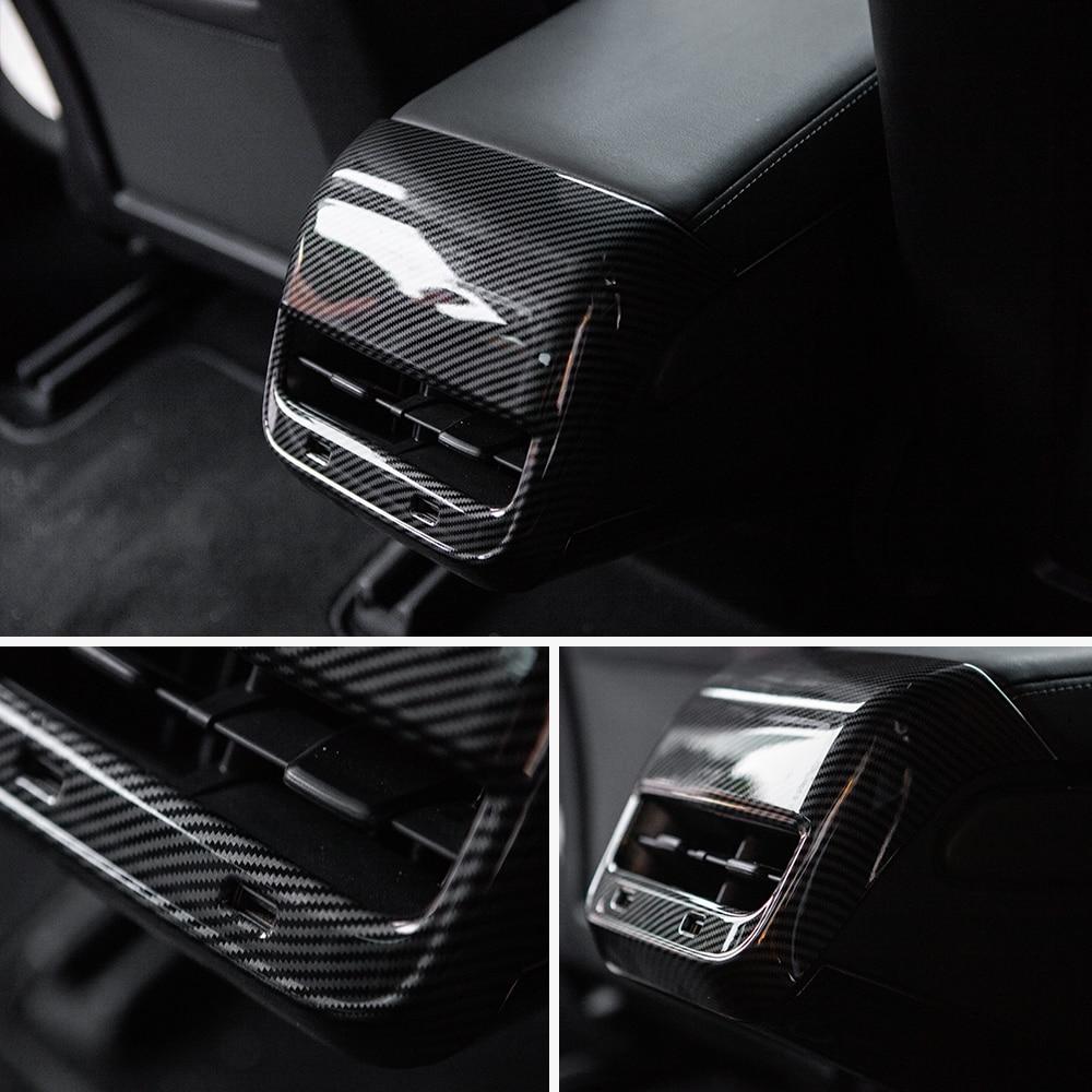 vxvb For Tesla Model 3 2021 Car Accessories Carbon Fiber ABS Rear Air Vent Outlet Cover Trim Interior Model Y Three New Model3