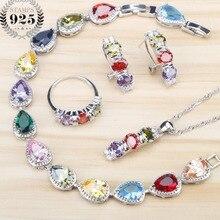 Wielokolorowa cyrkonia sześcienna kobiety zestawy biżuterii ślubny srebrny 925 biżuteria kamienie kolczyki pierścionki bransoletki wisiorek naszyjnik zestaw