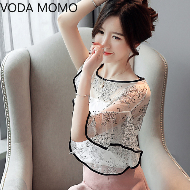 Summer New Fairy Lace Stitching Women shirt Butterfly sleeve embroidery Tops Casual Crochet Hollow out blouse Plus size 5