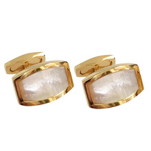 White Shell Cufflinks High-grade Men's Daily Wedding Suit Shirts Accessories Gifts Classic Golden French Business Cuff Links