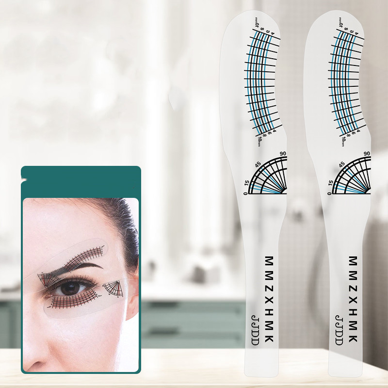 2pcs/set New Eyelash Measuring Ruler Eyelashes Length Curling Degree Ruler Lashes Symmetrical Positioning Extension Styling Diy
